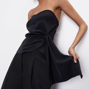 Zara cropped gathered top black NWT med black
